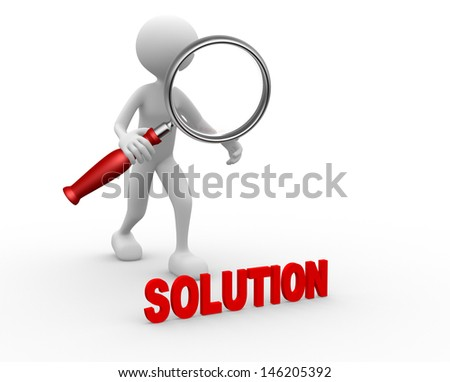 3d people - man, person with magnifier and word SOLUTION - stock photo
