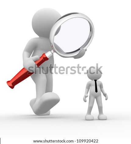 3d people - man, person with magnifying glass and businessman. Audit