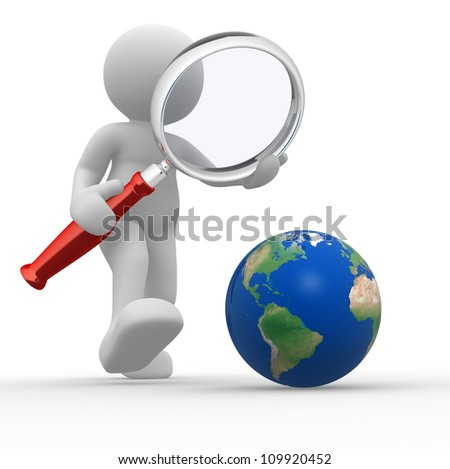 3d people - man, person with magnifying glass looking at Earth - stock photo