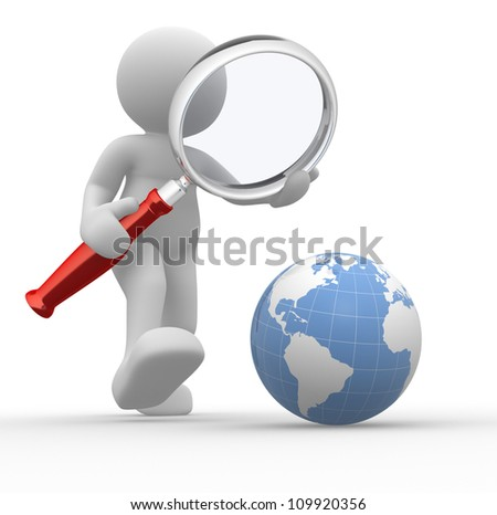 3d people - man, person with magnifying glass looking at Earth Globe. - stock photo