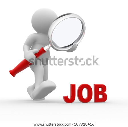 3d people - man, person with magnifying glass searching for job. - stock photo