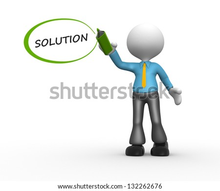 "3d people - man, person with marker and word ""solution"""