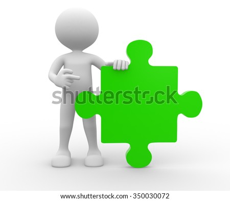 3d people - man , person with piece of puzzle - stock photo