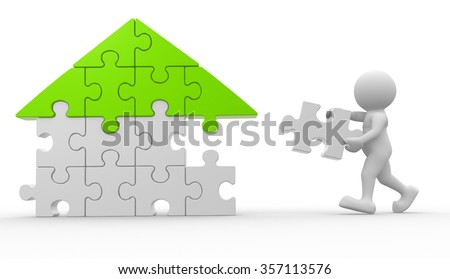 3d people - man, person with piece of puzzle ( jigsaw ).