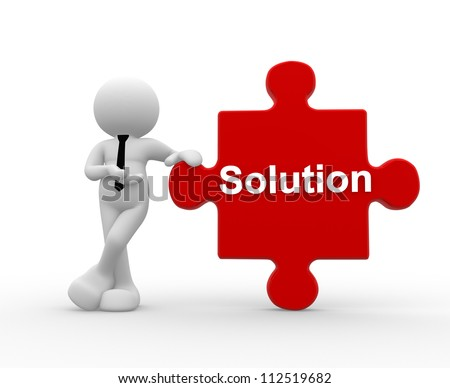 "3d people - man, person with pieces of puzzle and word ""Solution"". - stock photo"