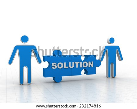 """3D people - man, person with pieces of puzzle and word """"Solution"""" - stock photo"""