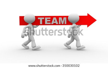 3d people - man, person with red arrow. Team concept - stock photo