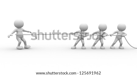 3d people - man, person with rope pulling. Three against one. - stock photo