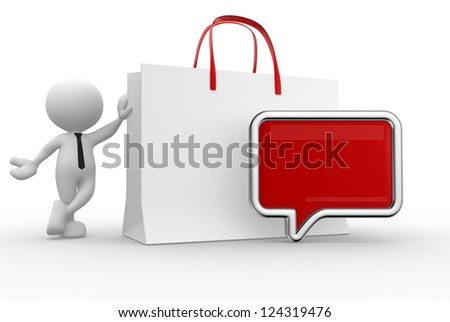 3d people - man, person with shopping bag and blank bubble - stock photo