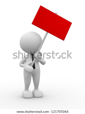3d people - man, person with sign board. - stock photo