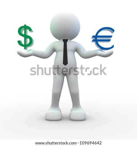 3d people - man, person  with sign dollar and  euro - stock photo