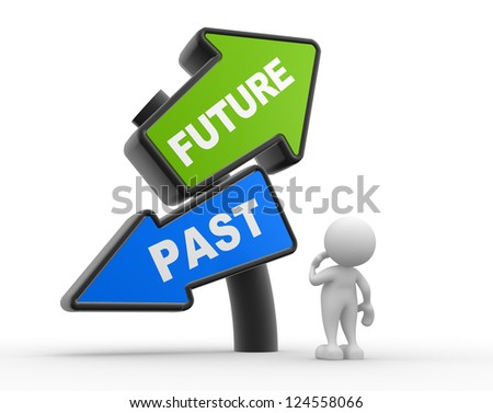"""3d people - man, person with signs with """"PAST"""" and """"FUTURE"""" pointing in opposite directions. Confused - stock photo"""