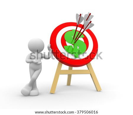 3d people - man, person with target and dollar sign - stock photo