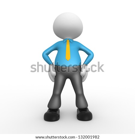 3d people - man, person with tie - proud. Businessman - stock photo