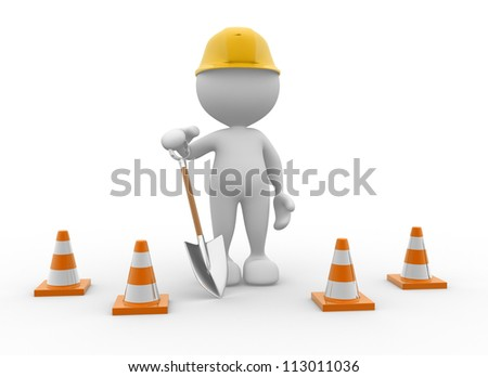 3d people - man, person with traffic cones and a shovel. - stock photo
