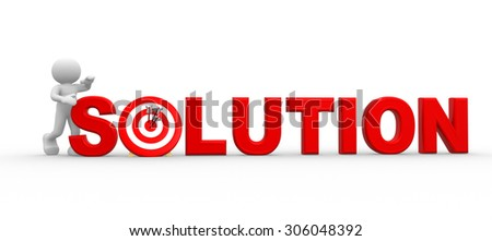 3d people - man , person with word solution - stock photo