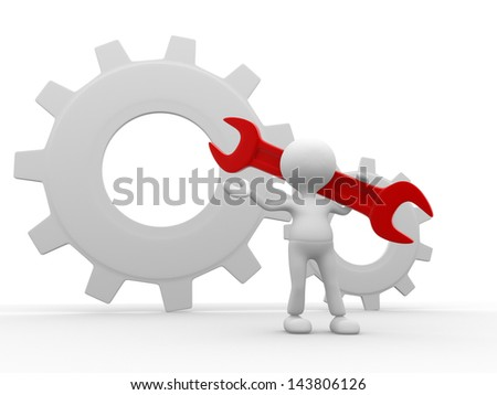 3d people - man, person worker with wrench and gears.