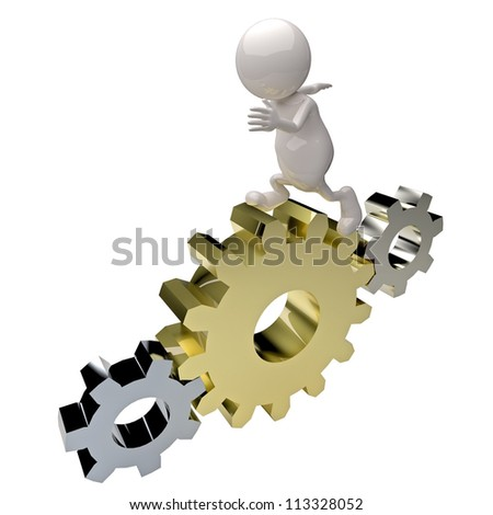 3d people man running on the gears - stock photo