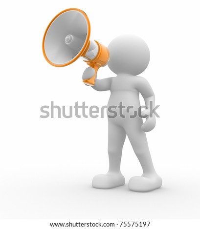 3d people - man with a megaphone .3d render - stock photo