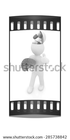 3d people - man with half head, brain and thumb up. Medical concept with tablets. The film strip - stock photo