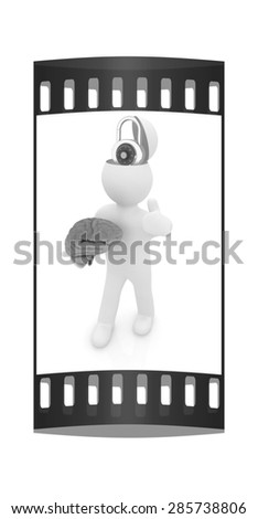 3d people - man with half head, brain and thumb up. The concept of protection with lock. The film strip - stock photo