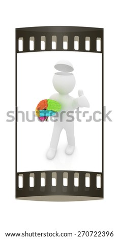 3d people - man with half head, brain and thumb up. The film strip - stock photo