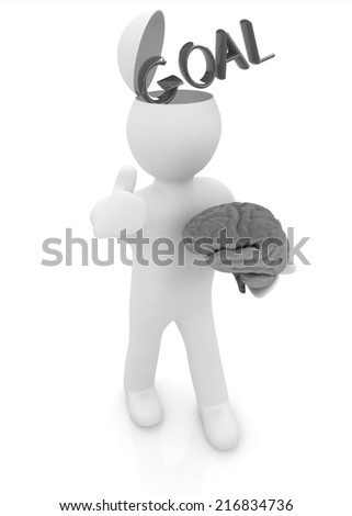 3d people - man with half head, brain and trumb up. Goal concept - stock photo
