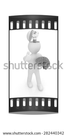 3d people - man with half head, brain and trumb up. Idea concept. The film strip - stock photo