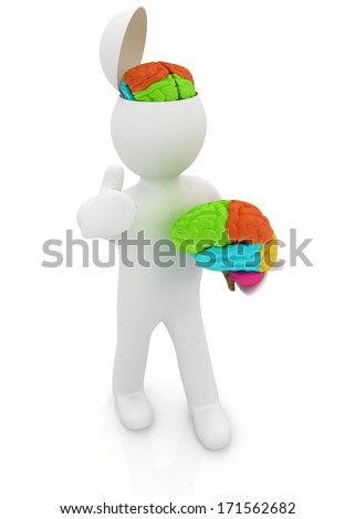 3d people - man with half head, brain and trumb up. New concept