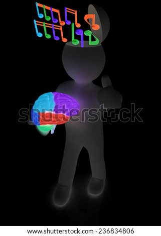3d people - man with half head, brain and trumb up. ��¡omposer concept with colorfull note  - stock photo