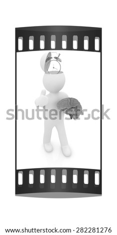 3d people - man with half head, brain and trumb up. Time concept with clock. The film strip - stock photo
