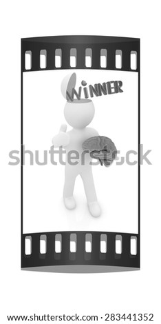 3d people - man with half head, brain and trumb up. Winner. The film strip - stock photo