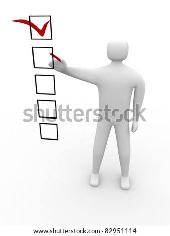 3d  people marking ticks in the checklist. 3d image. Isolated white background. - stock photo