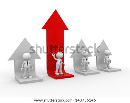3d people - men, person and a graph arrow. - stock photo