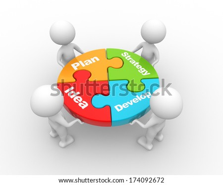 3d people - men, person and a pieces of puzzle. Strategy concept - stock photo
