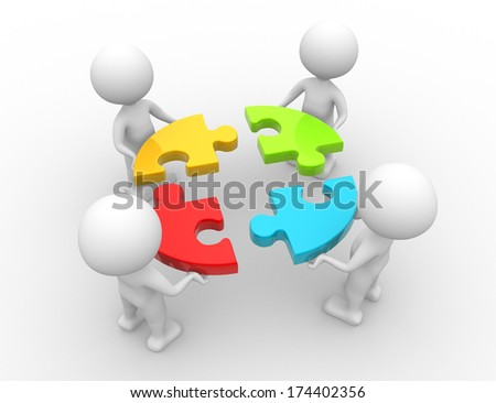 3d people - men, person and a pieces of puzzle. Teamwork - stock photo