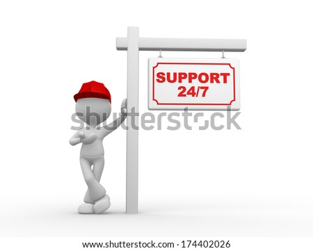 3d people - men, person and a placard with text Support 24/7