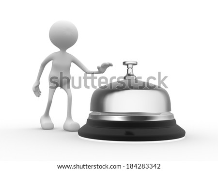 3d people - men, person and a service bell.  - stock photo