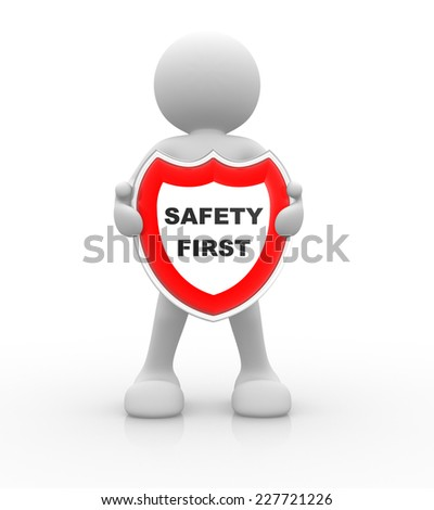 3d people - men, person and a shield. Safety first - stock photo