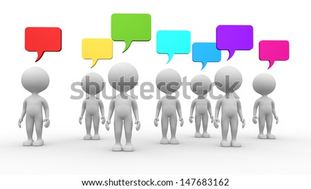 3d people - men, person and blank bubbles.  - stock photo