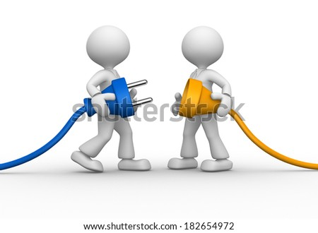 3d people - men, person and electric plug - stock photo