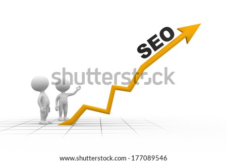 3d people - men, person and graph. SEO concept - stock photo