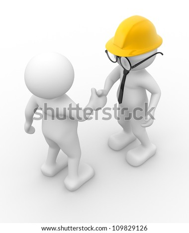 3d people - men , person  and helmet . Handshake. Engineer - stock photo