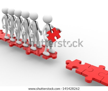 3d people - men, person and last piece of puzzle - jigsaw - stock photo