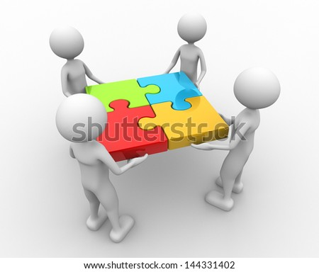 3d people - men , person and puzzle pieces ( jigsaw ). - stock photo
