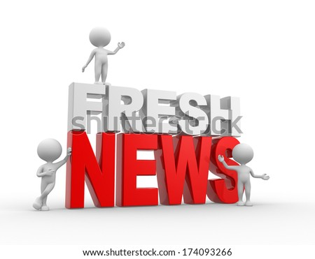 3d people - men, person and text fresh news - stock photo
