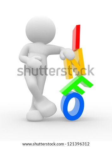 "3d people - men, person and word ""INFO"". Concept of information - stock photo"