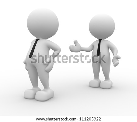 3d people - men, person angry. Reconciliation, please .... - stock photo