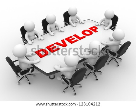 3d people - men, person at a conference table.  Develop - stock photo