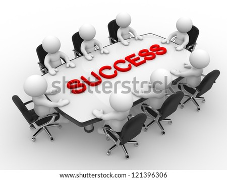 3d people - men, person at a conference table. Success. - stock photo